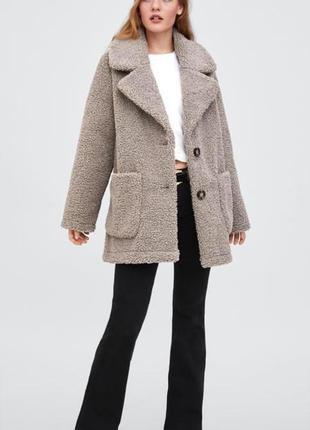 Пальто шуба куртка из искусственной овчины zara, размер s, m
