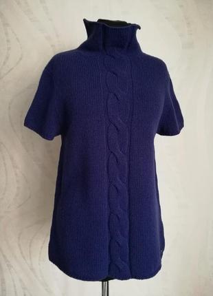 Шерстяной джемпер свитер вязаная блуза гольф водолазка с коротким рукавом