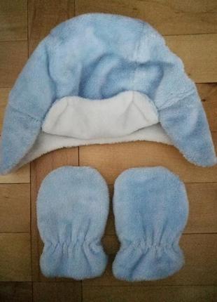 Дуже милий набір шапочка - вушанка +рукавички