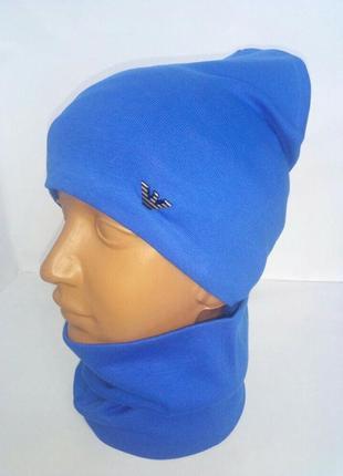 Комплект двойной трикотажный деми шапка на х/б подкладке1 фото