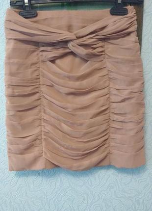 Эффектная юбка с драпировкой шифон нюдового цвета