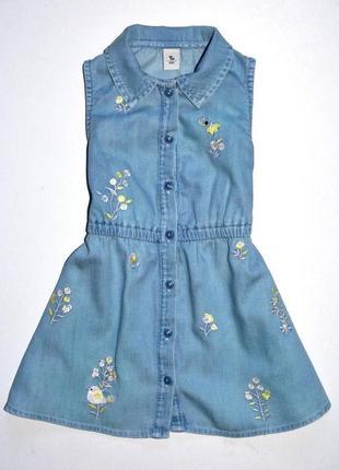 Tu джинсовое платье с вышивкой 12-18 мес. рост 80-86 см.