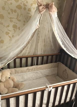 Комплект детского постельного с бортиками и балдахином маленькая соня