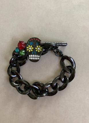 Стильный браслет scooter с черепом и цветами