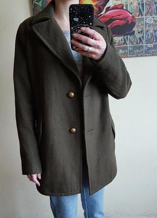Базовое шерстяное пальто оверсайз бойфренд пальто милитари цвета хаки