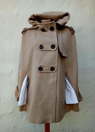 Стильный шерстяной бежевый кейп с капюшоном,пальто,кашемир.