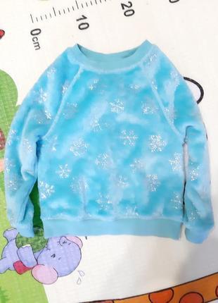 Флисовая теплая пижама поддева и подарок 3-4 года