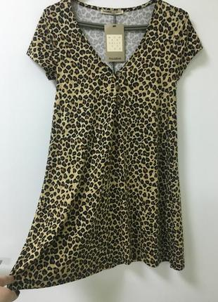 Платье леопард pull&bear