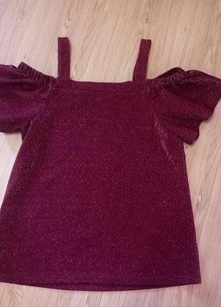 Обнова! топ блуза с люрексом со спущенными открытыми плечами с вырезами на плечах f&f