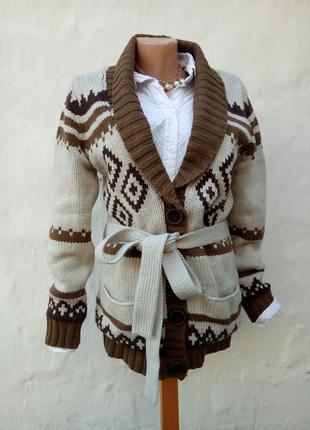 Крутой теплый вязаный кардиган с поясом на подкладке herrlicher,кэжуал,крупная вязка.