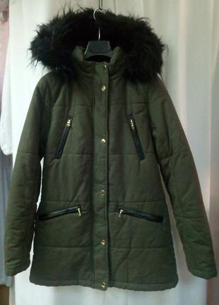 "Куртка утепленная, парка, цвета хаки от британского бренда ""new look"""
