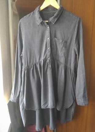 Стильная блузка сорочка рубашка zara. оригинал