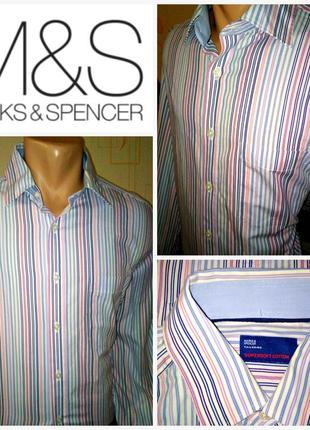 Стильная рубашка в в полоску marks&spencer tailoring
