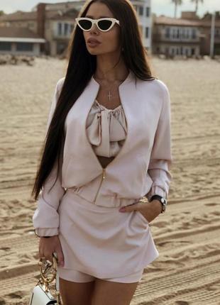 Шикарный трендовый весенний атласный костюм юбка шорты мини бомбер1 фото