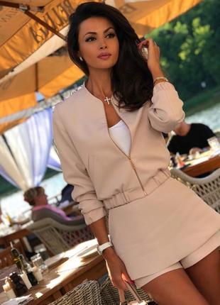 Шикарный трендовый весенний атласный костюм юбка шорты мини бомбер2 фото