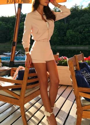 Шикарный трендовый весенний атласный костюм юбка шорты мини бомбер3 фото