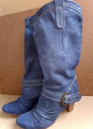 Женские кожаные демисезонные сапоги фирмы twins