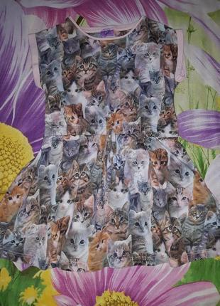 Платье с котиками 3d,f&f,98-104