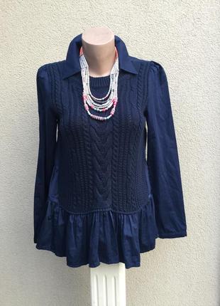 Комбинированная блуза,рубашка,кофточка с баской,вязка косы,le polka,,этно,бохо стиль