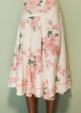 Стильная качественная расклешенная юбка миди 100% лен