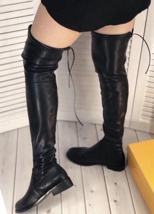 Кожаные чёрные ботфорты - чулок stuart weitzman без каблука