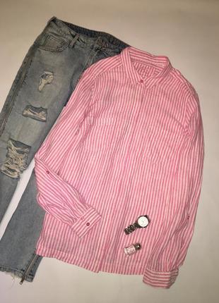 Яркая льняная рубашка в полоску