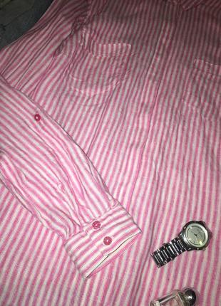 Шикарная полосатая рубашка из льна / льняная рубашка в полоску4 фото