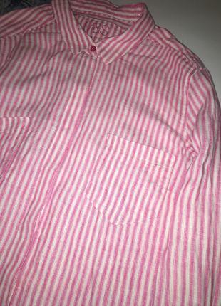 Шикарная полосатая рубашка из льна / льняная рубашка в полоску3 фото