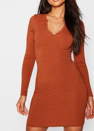 Карамельное платье в рубчик boohoo