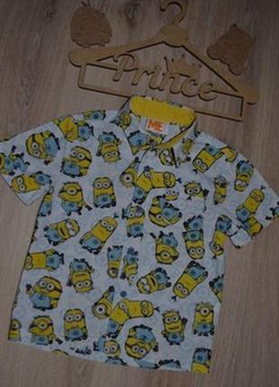Рубашка шведка мальчику сост отл minions 3-4г