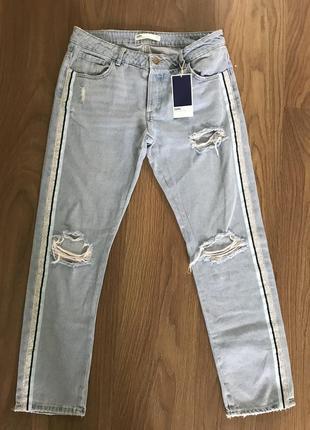 Стильные джинсы zara с лампасами