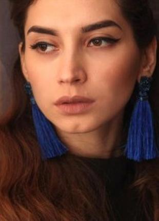 Серьги синие голубые нити нитки висячие длинные кисточки бохо этнические
