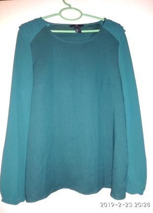 Красивая изумрудная шелковая блузп,рубашка, кофта,сорочка,туника от h&m