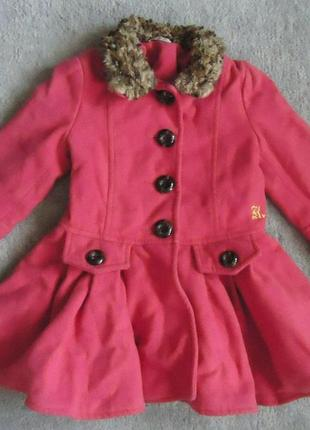 Яркое красивое детское пальто на 1,5-2 года