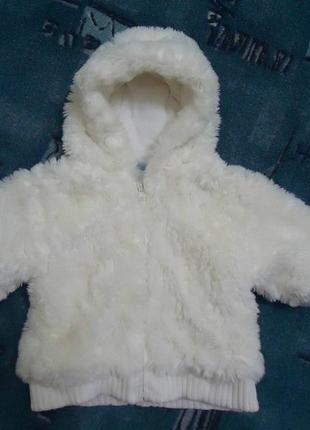 Красивая теплая меховая шубка, курточка с капюшоном, шуба на 6-9 мес.