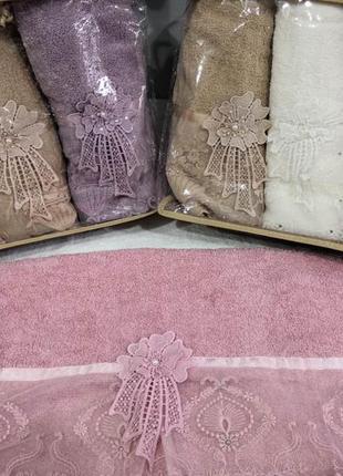 Набор полотенецбанных махровых (3 шт)  цвета микс