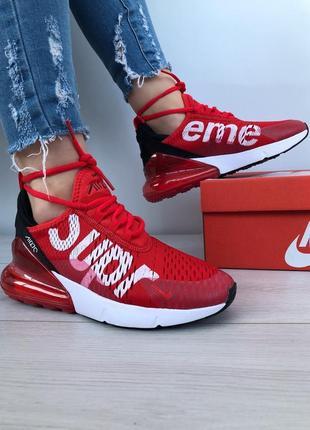 Nike air max 270 supreme red кроссовки весна кросівки красные скидка 37-41