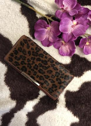 Леопардовый кожаный кошелёк с натуральным ворсом