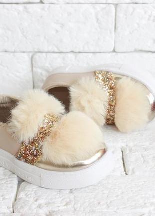 Бомбезные золотые  слипоны на модниц