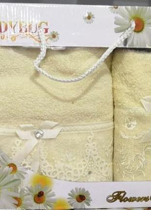 Подарочный набор полотенец махровых баня и лицо