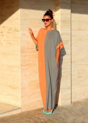 Платье большой размер батал лето  размер l-xl-xxl серо-оранжеове
