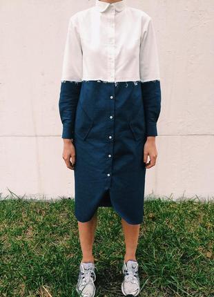Крутое джинсовое дизайнерское платье рубашка