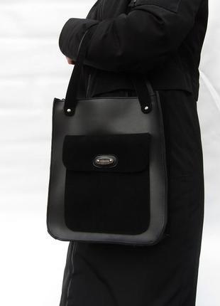 Деловая черная сумка handmade