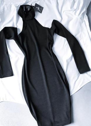 Идеальное лонгслив платье в мелкий рубчик под горло с открытыми плечами atmosphere xs 6