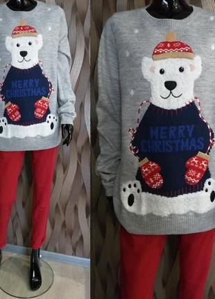Весенняя распродажа/  удлинённый тематический свитер новогодний принт next 14 наш 48