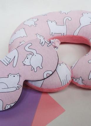 Дорожная подушка-коты, подушка для путешествий - котики, подарок на 8 марта