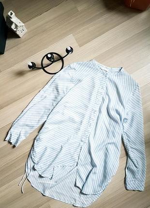 Удлиненная рубашка с разрезами воротник стоечка фирма h&m легкая блуза блузка