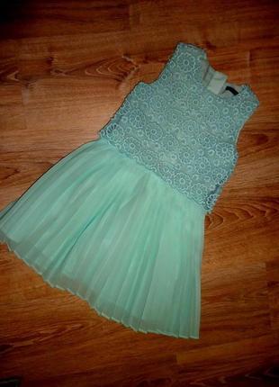 Роскошное бирюзовое, нарядное платье с гипюром на 5-6 лет george