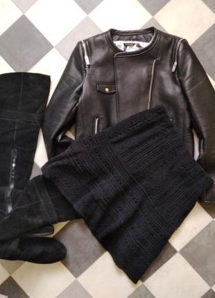 Крутая вязанная юбка из футтера от zara