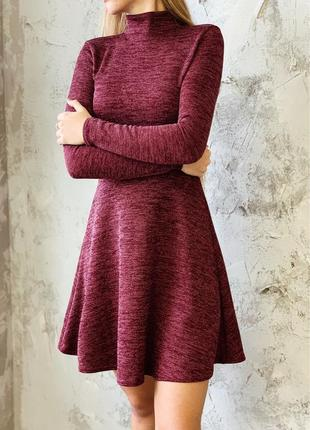 Платье гольф с горловиной на длинный рукав теплое трикотаж резинка бордо xs/s, s/m